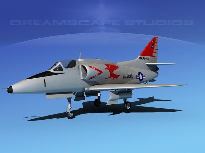 douglas a-4g skyhawk usmc 3d model max obj mtl 3ds lwo lw lws dxf stl 1