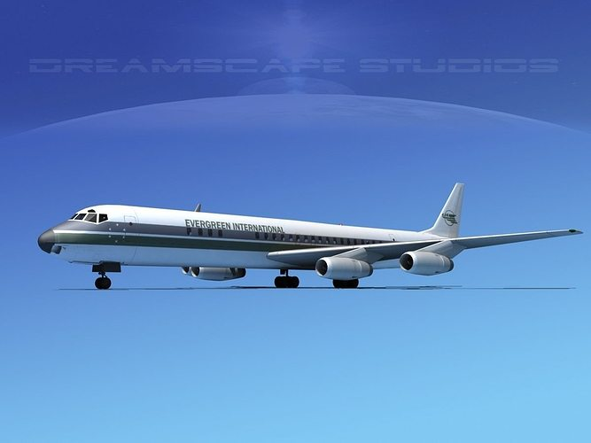 douglas dc-8-63 evergreen 3d model rigged max obj 3ds lwo lw lws dxf stl 1