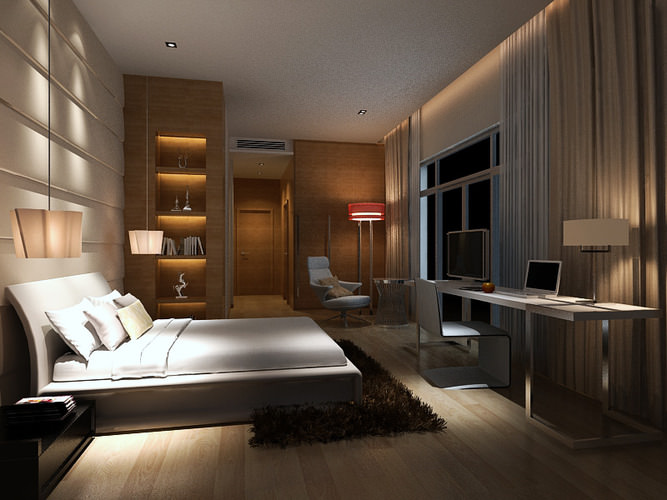 Bedroom Contemporary Style 3D model   CGTrader on Model Bedroom Design  id=70801