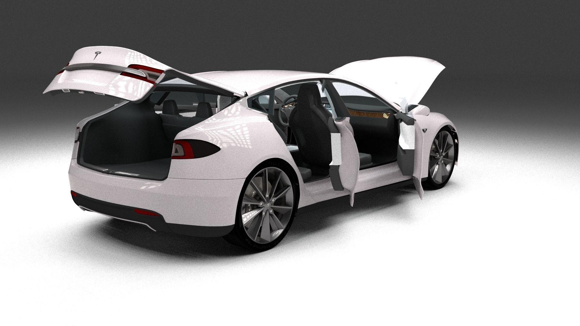 tesla model s with chassis and interior 3d model obj fbx stl blend dae. Black Bedroom Furniture Sets. Home Design Ideas