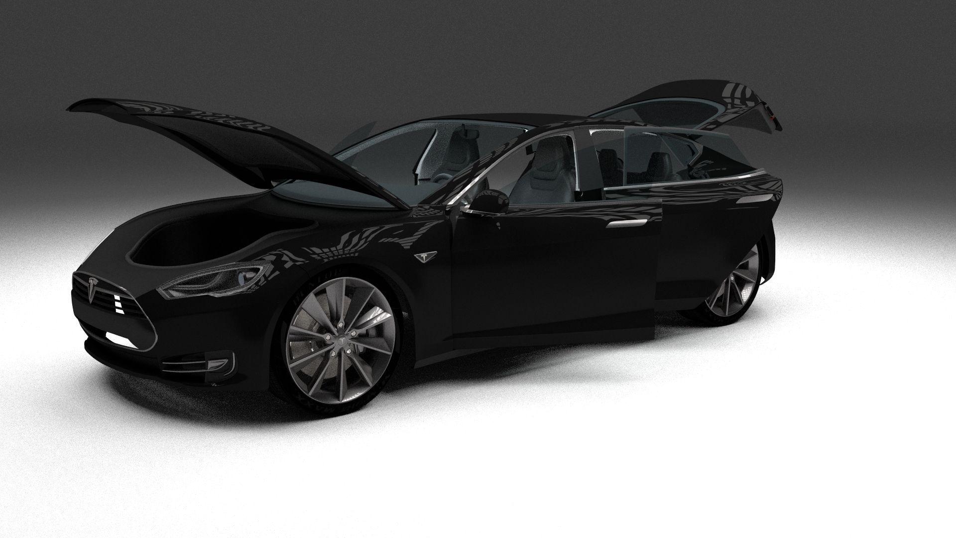 Tesla Model S With Interior 3d Model Obj Fbx Stl Blend Dae Mtl 1 ...
