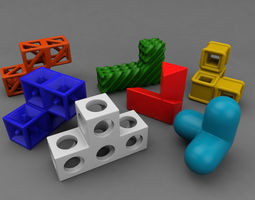 soma cube puzzle game 3d print model
