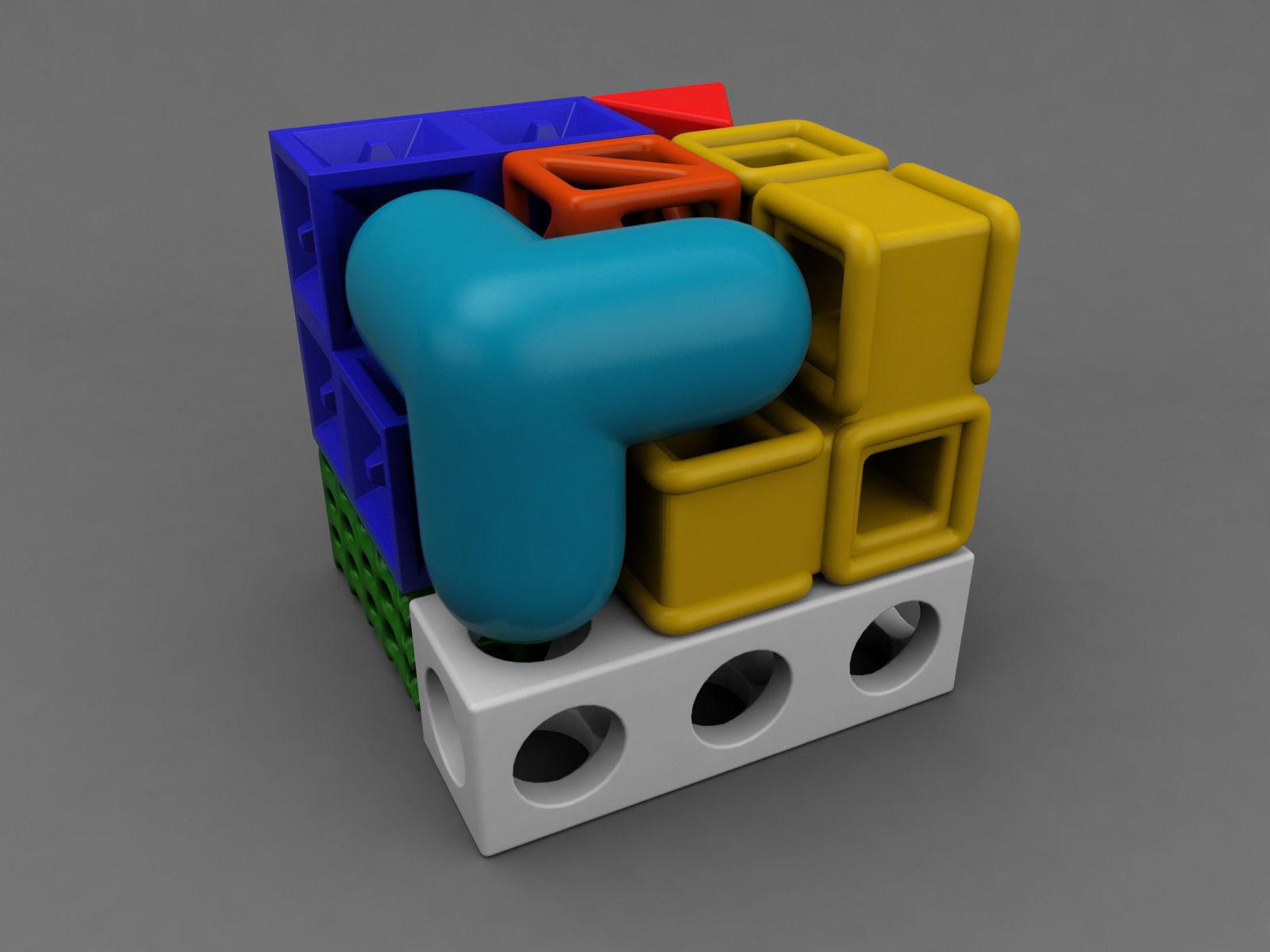 Soma Cube Puzzle Game D Model Fbx Ma Mb Stl C C De Cf Aa Dc E A