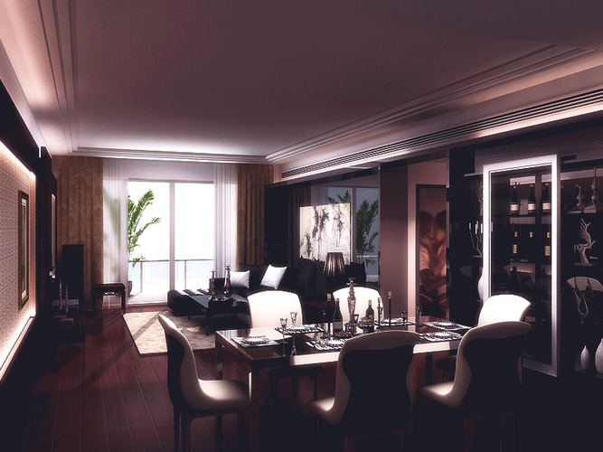 Great room living dining 3d model max for Dining room 3d max model