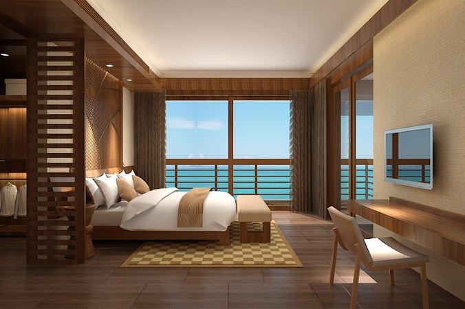 Ocean View Bedroom D Model CGTrader - 3d view of bedroom design