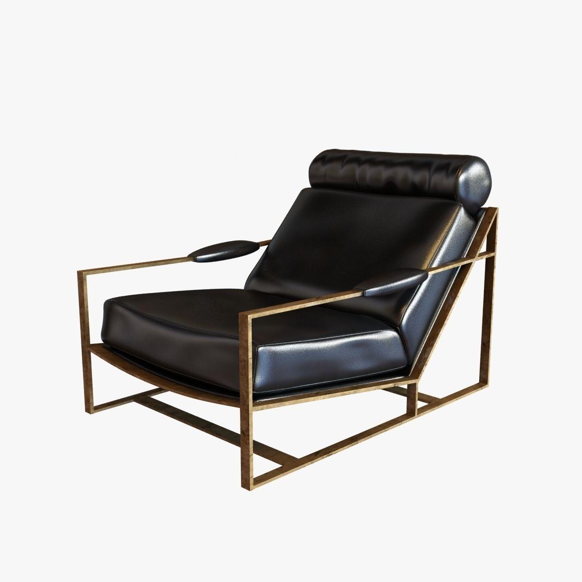 Milo Baughman Rare Bronze Frame Black Leather Lounge Chair 3d Model Max Obj  3ds Fbx Mtl ...