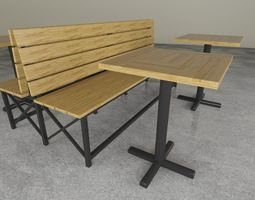 3D asset Wood and Steel bench and table