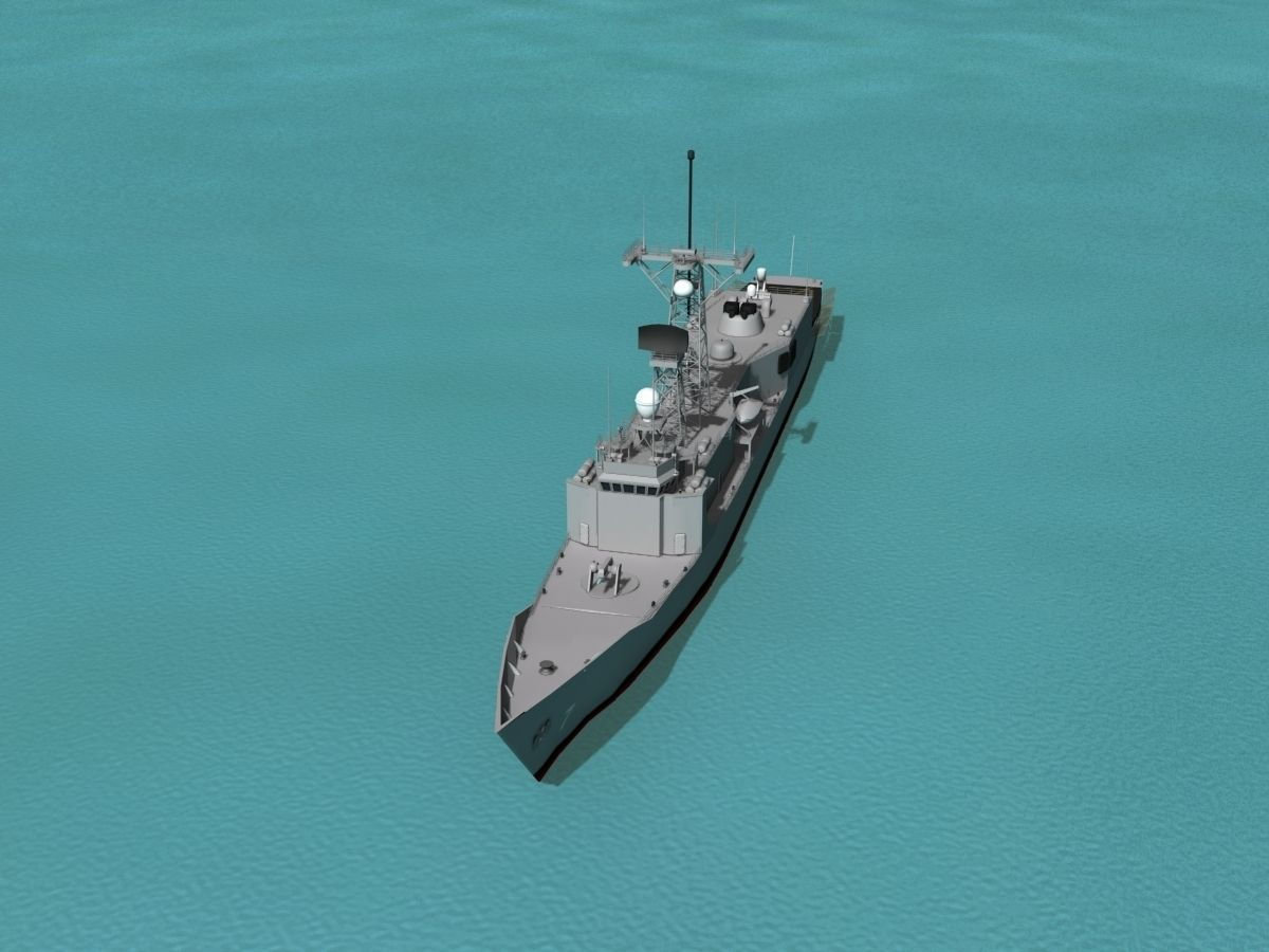 FFG-7 USS Oliver Hazard Perry Frigate 3D Model Rigged MAX
