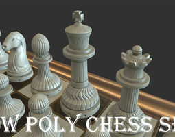 3D asset Low poly Chess Set