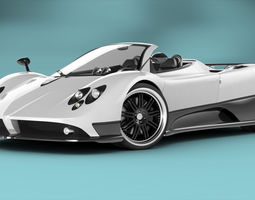 animated pagani zonda f roadster rigged 3d model
