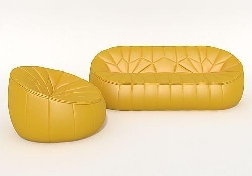 3d sofa ottoman ligne roset cgtrader. Black Bedroom Furniture Sets. Home Design Ideas