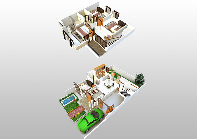 3d floorplan of 2 storey house 3d model - House 3d Plan