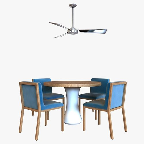 3d Model Table Chair And Ceiling Fan Cgtrader