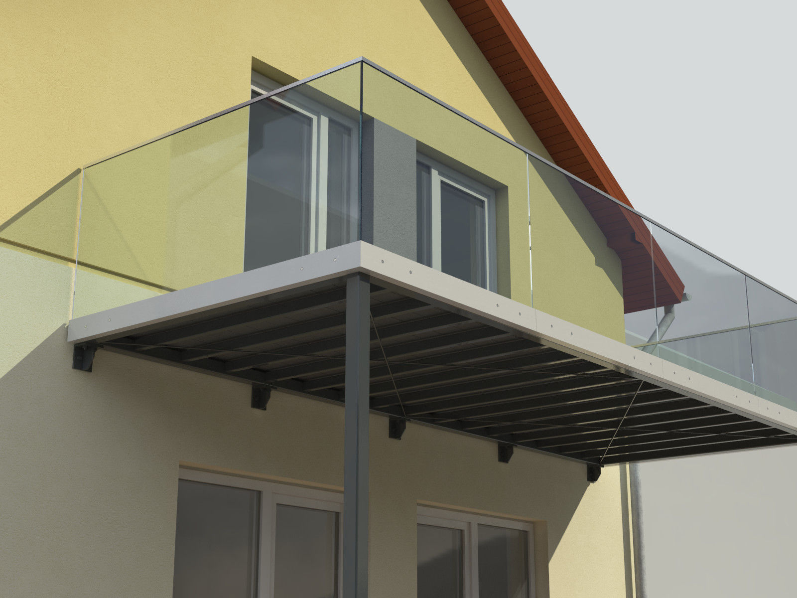 Balcony and railing 3d model obj 3ds lwo lw lws 3dm skp for Balcony models