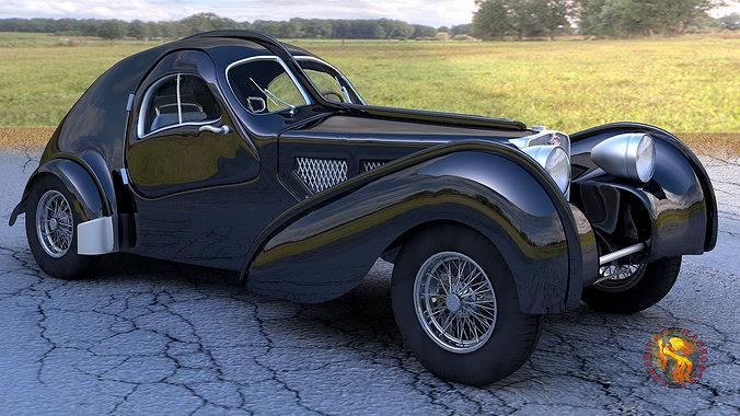 bugatti atlantic obj 3d model obj mtl 1