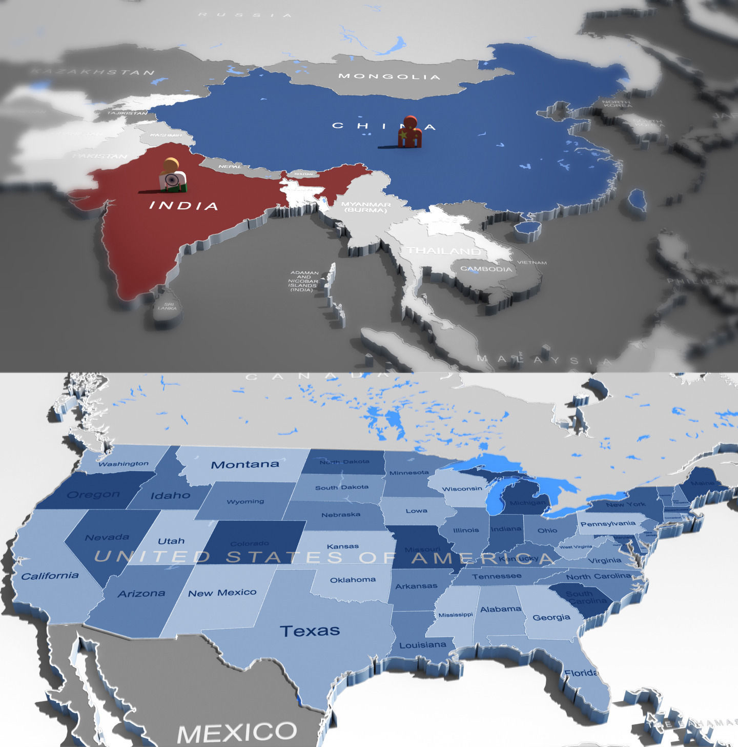 3d world map and usa map cgtrader 3d world map and usa map 3d model max obj fbx mtl 1 gumiabroncs Images