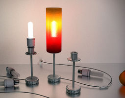 3D A Tablelamp with rigged cable