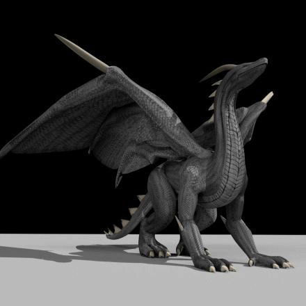 3d Model Black Dragon Rigged And Game Ready Vr Ar Low