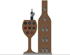 3D print model Bar with Wine Rack and Glass Shelf