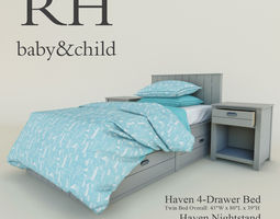 restoration hardware haven 4-drawer bed 3d model