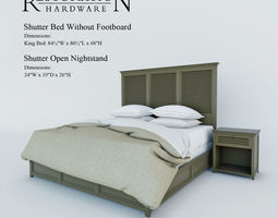 restoration hardware   shutter bed without footboard  3d