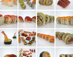 game-ready 3d model sushi assortiment