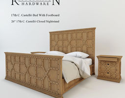 restoration hardware 17th c castello bed with footboard  3d