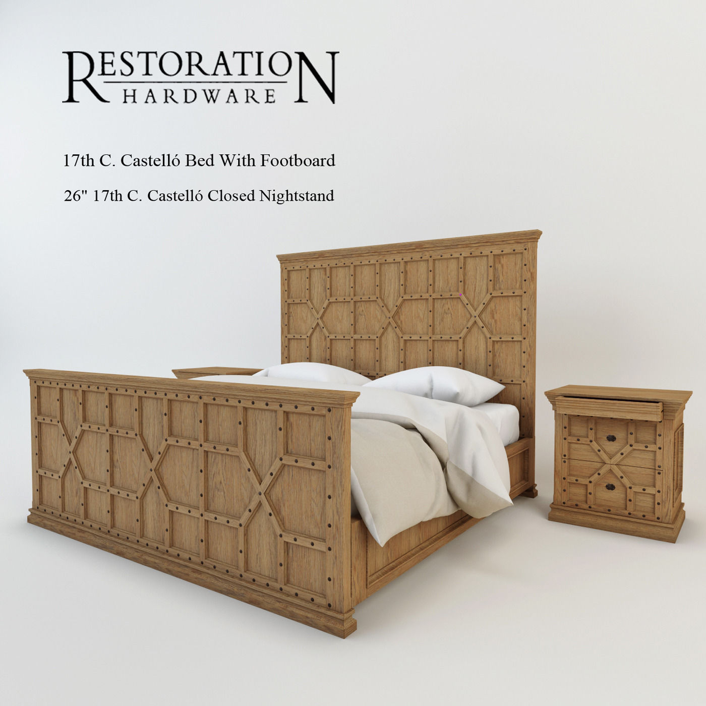 Restoration Hardware 17th C Castello Bed With Footboard 3d Model Max Fbx