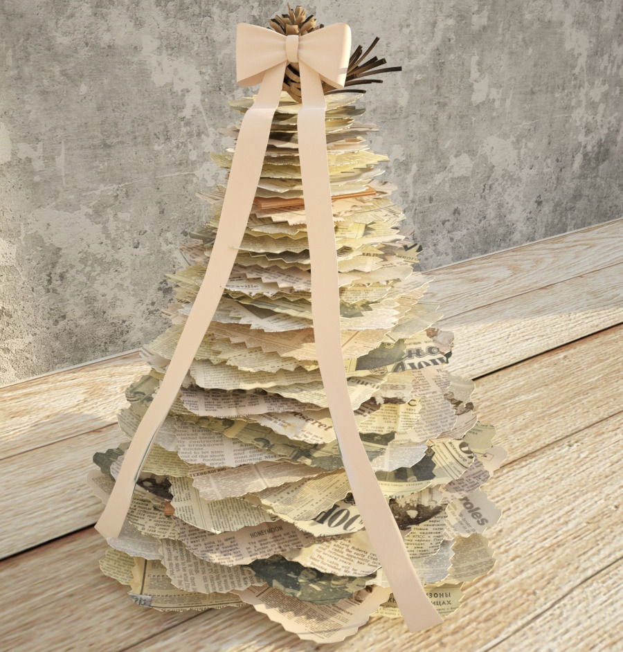 Newspaper Christmas handmade tree 3D model | CGTrader