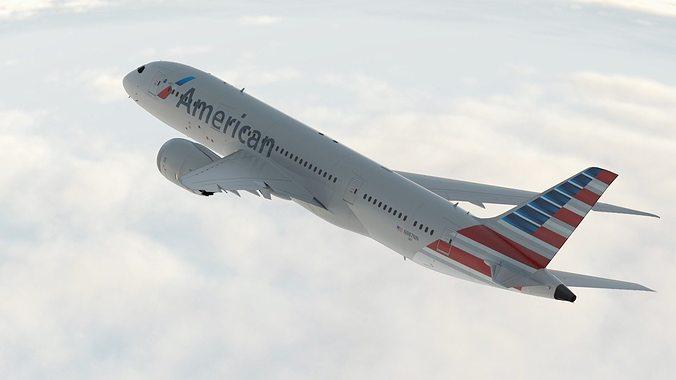 boeing 787 dreamliner american airlines aircraft 3d model max obj mtl fbx c4d 1