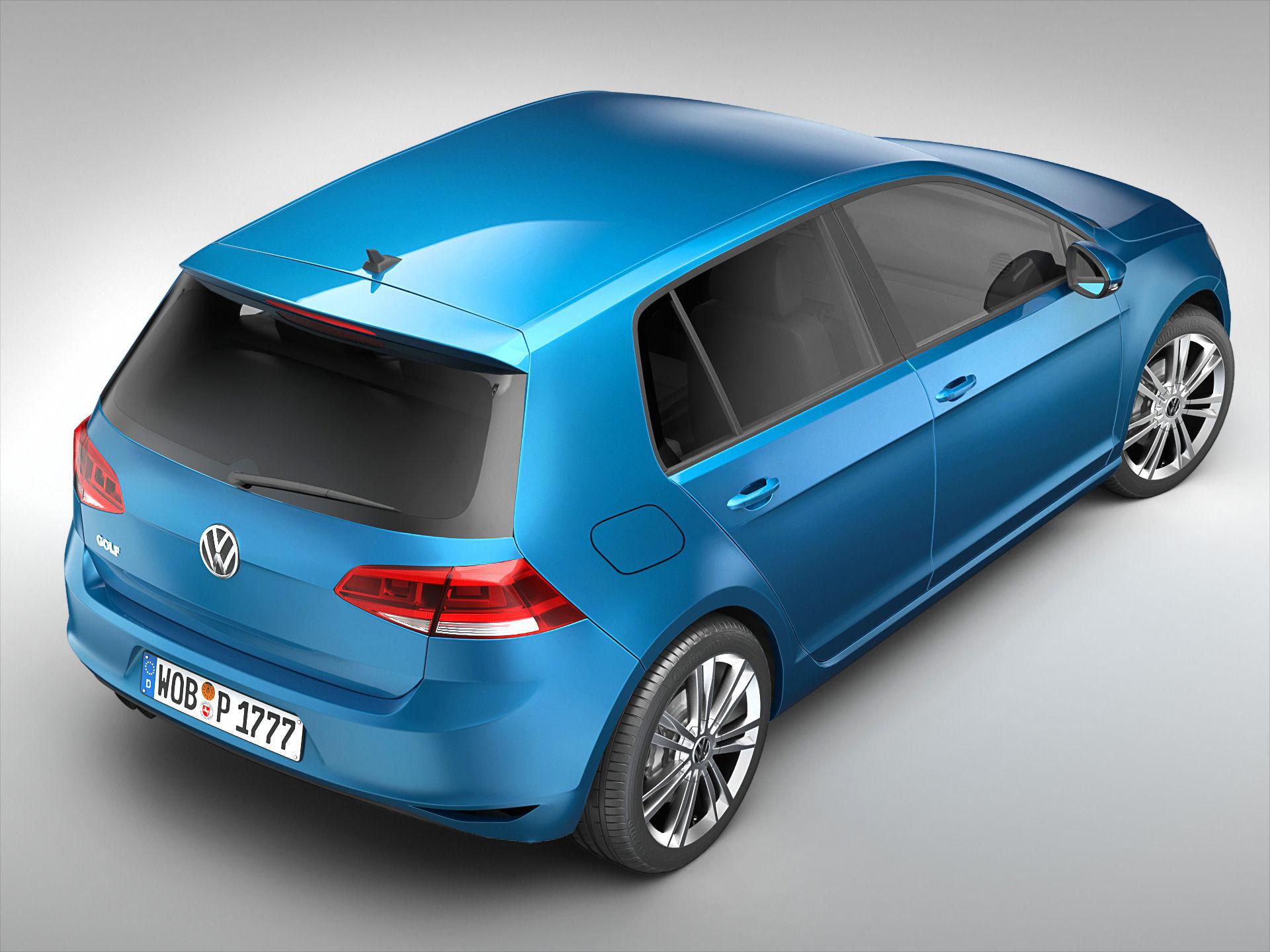 Volkswagen Golf MK7 2013 3D Model MAX OBJ 3DS FBX C4D MA MB | CGTrader.com