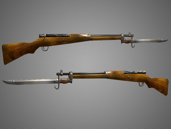 arisaka type 99 rifle low poly 3d model obj fbx lwo lw lws ma mb blend dae 1