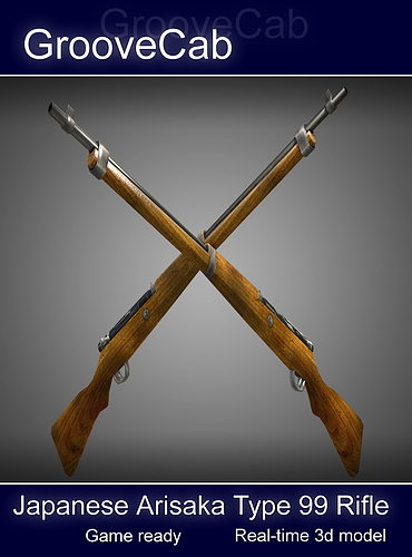 arisaka type 99 rifle low poly 3d model obj fbx lwo lw lws ma mb blend dae 5