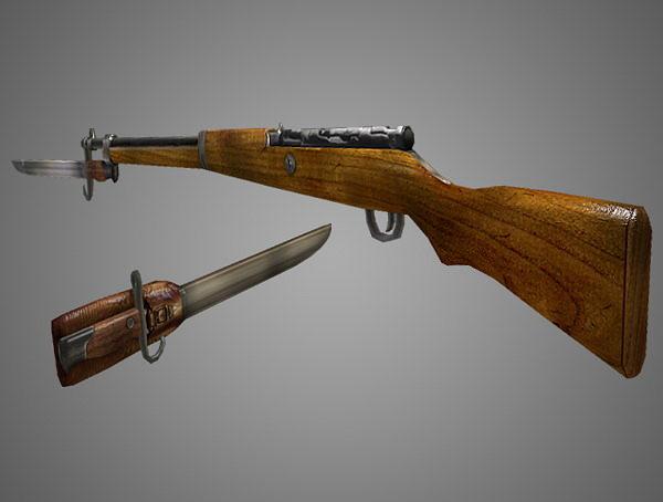 arisaka type 99 rifle low poly 3d model obj fbx lwo lw lws ma mb blend dae 2