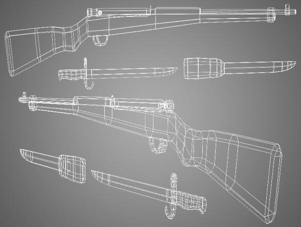 Arisaka Type 99 Rifle Low Poly