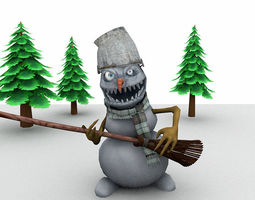 game-ready 3d model evil snowman for unity animated