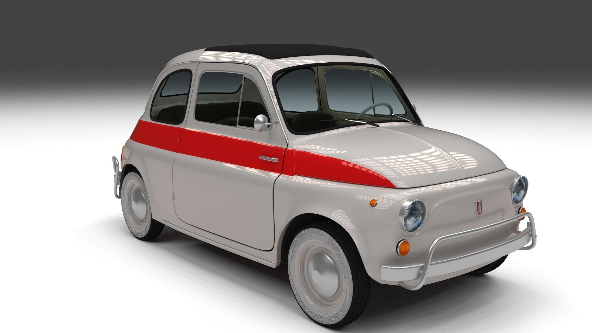 3d model fiat 500 nuova sport 1958 vr ar low poly obj. Black Bedroom Furniture Sets. Home Design Ideas