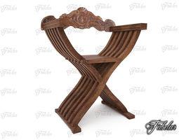 savonarola chair 3d asset low-poly