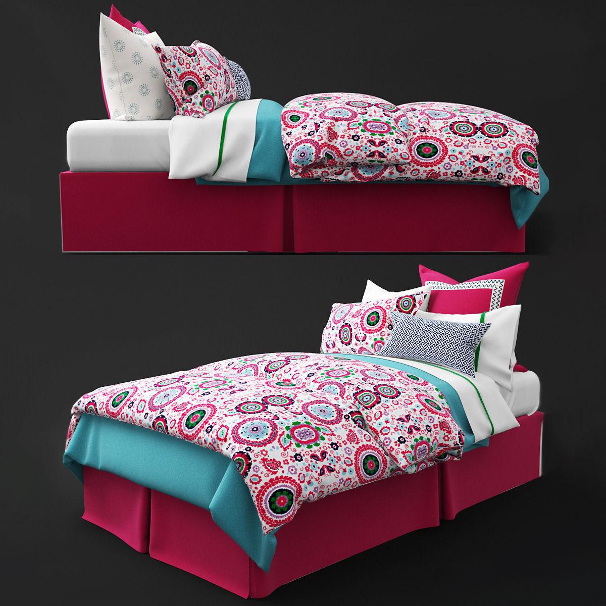 Kids Bedroom 3d Model 3d model bedclothes kids pink | cgtrader