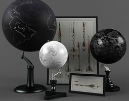 antique globes pottery barn 3d