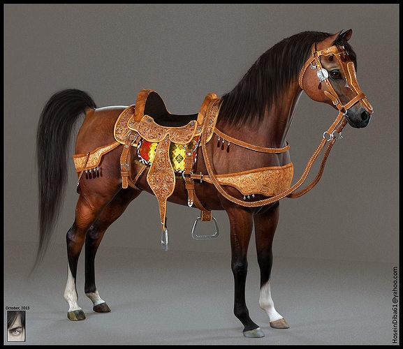 arabian horse 3d model obj ztl tga 1