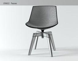 flow chair oak base  3d