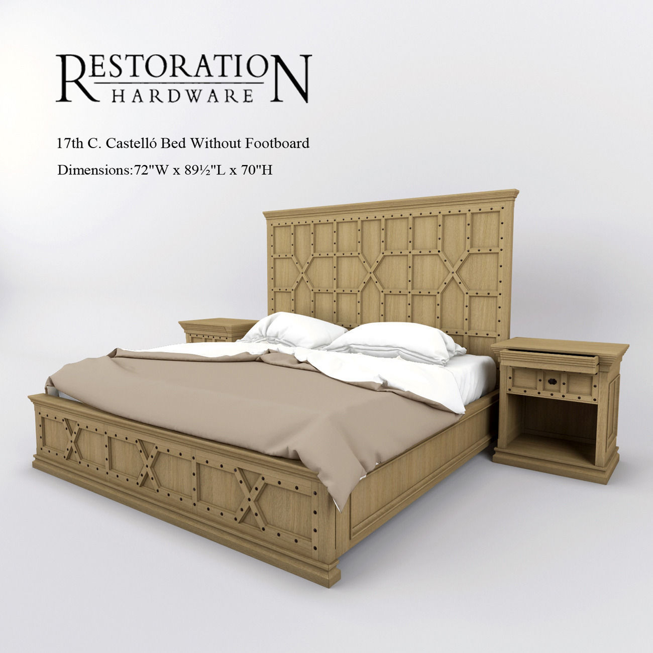Restoration Hardware 17th C Castello Bed Without Footboard 3D model ...