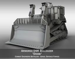 armored cat d9r bulldozer 3d model