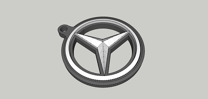 mercedes benz double-sided printable keyring 3d model stl 1