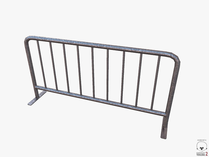 metal barrier pbr 3d model low-poly obj mtl tga tbscene tbmat 1