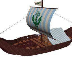 3D Viking Cargo Ship