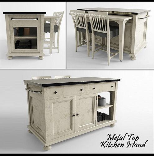 Metal Top Kitchen Island Model Printable Max Fbx Stl