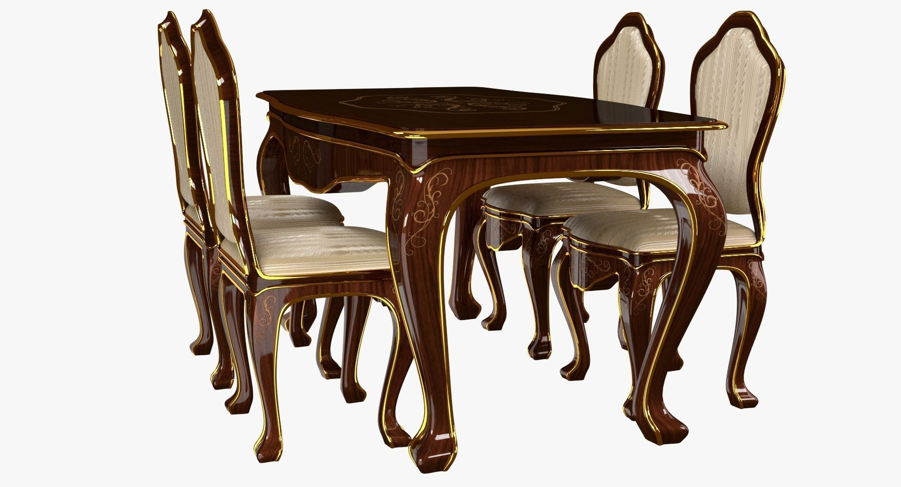 classic dining table 3d model free