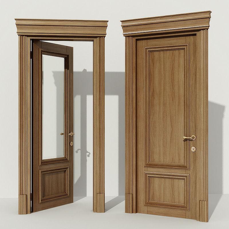 Door classic 3d model max obj fbx mtl for Door 3d model